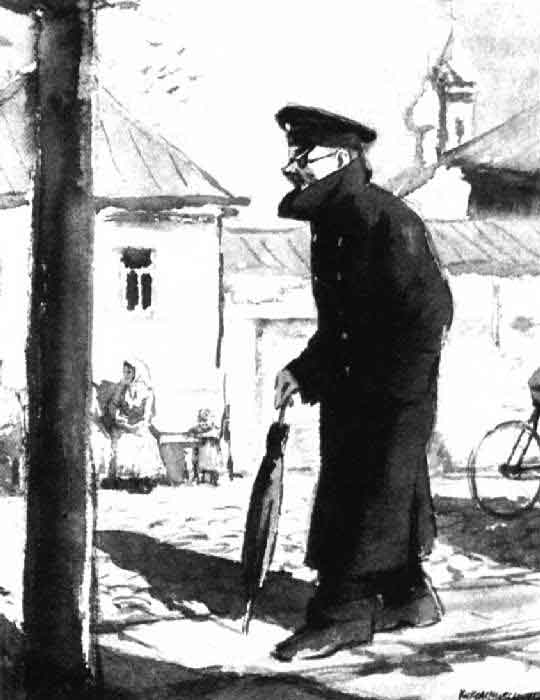 Иллюстрация к рассказу А. Чехова «Человек в футляре». Кукрыниксы