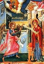 Благовещение. Икона XVIIв. о. Патмос.