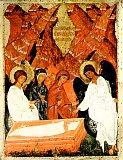 Жены-мироносицы у Гроба Господня (Икона XV века. Русский музей)