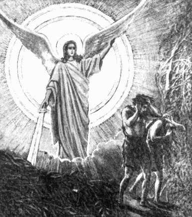 Изгнание из рая.  А диаволу, который скрывался в змее, главному виновнику человеческого греха,сказал...