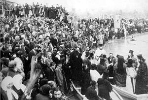 Освящение воды на Иордане в Крещенский сочельник. 1890-е гг.